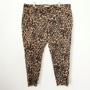 Lane Bryant Cheetah Leopard Raw Hem Skinny Jeans